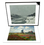 A Field of Tulips in Holland  1886 & Ice Floes on the Seine at Bougival  Around 1867 Set