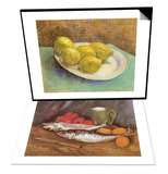 Still Life with Mackerel  1886 & Still Life with Lemons on a Plate  1887 Set