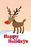 Happy Holidays (Rudolf the Red-Nosed Reindeer) Art Poster Print