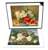Still Life of Roses and Morning Glory & Still Life of Summer Fruit and Peach Roses Set