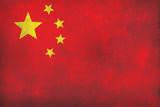 China Flag Distressed Art Print Poster