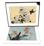Orchidees orange & Hortensia et hirondelle Set