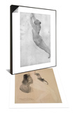Femme assise nue sous une veste & Dessin Set