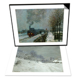 Landscape Around Honfleur  Snow  circa 1867 & Train in the Snow  1875 Set