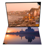Taj Mahal Reflected in the Yamuna River  India & Man Mandir Ghat  Varanasi  India Set