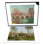 Entry into the Village of Voisins (Yvelines)  1872 & Pont Royal and the Pavillon De Flore  1903 Set