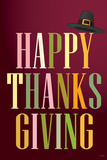 Happy Thanksgiving (Colorful  Dark) Art Poster Print