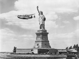 Seaplane Flying by Statue of Liberty