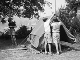 Boys Pitching a Tent
