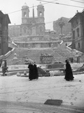 Snow Covering Rome's Spanish Steps