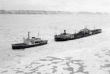Icebreaker Manhattan following the Coast Guard Icebreaker