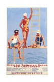 Open Air Swimming Baths for Londoners'  Poster Advertising Southern Electric Railways  1932