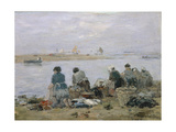 Washerwomen on Banks of Touques River Near Trouville