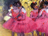 Dancers in Pink, Between the Scenes Giclée par Edgar Degas