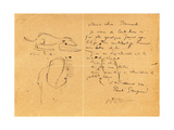 Letter to Emile Bernard with Three Ink Sketches  Noting the Death of 'Vincent'  Tahiti  1890S