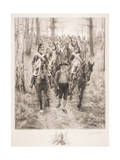 French Cavalry Traveling Through Woods with Guide