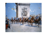 WWI Victory Parade Passing Through the Arc De Triomphe Led by French Marshals Joffre and Foch