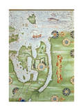Fol10V Map of Scandinavia and Northern Russia  from 'Cosmographie Universelle'  1555