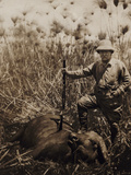 Col Roosevelt Standing Beside a Water Buffalo Which He Has Shot