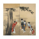 Paper Two-Fold Screen: a Shinto Priest