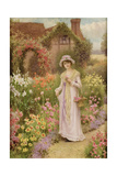 Girl by a Herbaceous Border