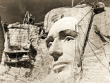 The Construction of the Mount Rushmore National Memorial  Detail of Abraham Lincoln 1928