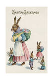 Easter Greetings Postcard with Rabbit Family