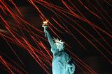 Fireworks Surrounding Statue of Liberty