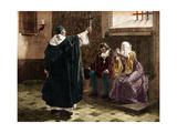 Illustration of Tomas De Torquemada with King Ferdinand II and Queen Isabella