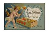 Valentine's Day Postcard with Cupid and Matches