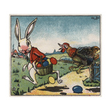 Easter Rabbit and Chicken Illustration on Egg Dye Packaging