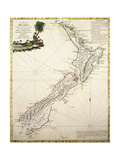 Map of New Zealand by Antonio Zatta According to Discoveries of James Cook  Venice 1778