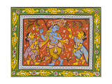 Patachitra Depicting Krishna with Gopis in the Rasa Dance  Orissa  Mid 20th Century