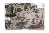 Pygmies  Fish  Ducks and Hippopotamus  Detail from Mosaic Depicting Nilotic Landscape