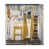 Egypt  Tomb of Nefertari  Mural Paintings  Queen before God Ptah and Osiris Form 'Djed' Pillar