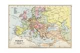 Map of Europe in 1740  from 'Historical Atlas'