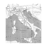 Map of Italy in 1815  from 'Europe in the Nineteenth Century: an Outline History  Published in 1916