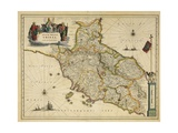 Map of Tuscany Region  from Atlas by Willem Janszoon Blaeu  1663
