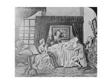 Illustration of Benjamin Franklin on His Death Bed