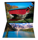 Red Covered Bridge on Rural Road & Mountains Looming over Blue Lake Set