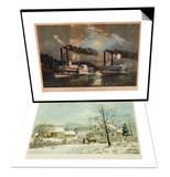A Midnight Race on the Mississippi & New England Winter Scene  1861  Currier and Ives Set