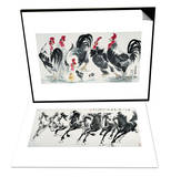 Chickens Bring Luck & Running Horses Set