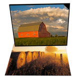 Barn and Cumulonimbus Cloud Mass & Misty Morning  Farmland and Wheat Straw Rolls  Canada Set