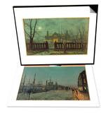 Garden in the Evening with View of an Illuminated House & The Hull-Docks by Night Set