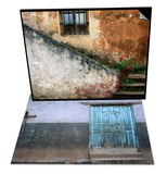Adobe Stairs with Geraniums & Blue Door and Cross on Wall Set