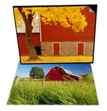 Autumn Tree by Red Barn & Red Barn in Long Grass Set
