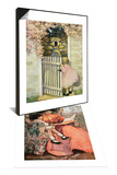 Illustration of Little Girl Walking Through Gate & Book Illustration of Mother and Daughter Set