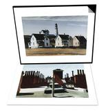 Lighthouse Hill  Cape Elizabeth  Maine & Roofs of Washington Square Set