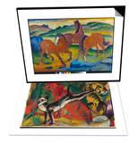 Red Horses (Grazing Horses Iv)  1911 & Three Cats  1913 Set