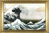 Great Wave off Kanagawa Hokusai with Gilded Faux Frame Border